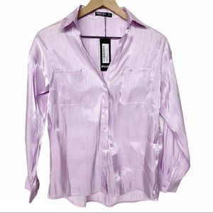 Nasty Gal NWT shimmer metallic button up in lilac